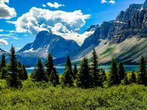 Crowfoot glacier from bow Lake Banff National Park. Water mountains, lake Stock Photography