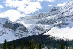 Crowfoot Glacier Pull Off. Pull off view of the crowfoot glacier on glacier parkway through Banff national park royalty free stock image