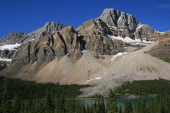 Crowfoot Mountain and Bow Lake Stock Photo