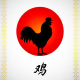 Crowing rooster and sun on white Stock Image