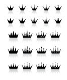 Crown. Big set of black crown Royalty Free Stock Image