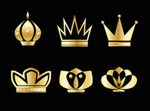 Crown. Vector golden crown icons set Stock Photography