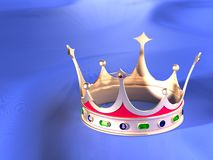 Crown. The three-dimensional image of a crown on a blue background Royalty Free Illustration