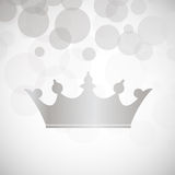 Crown. Silver crown over silver holiday light background, vector Stock Photos