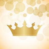 Crown. Golden crown over golden holiday light background, vector Stock Photo