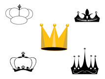 Crown. Illustration with crown collection isolated on white background Stock Images