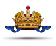 Crown. With blue ribbon and a ruby. 3d image. Isolated white background. Clipping path included Royalty Free Stock Photo
