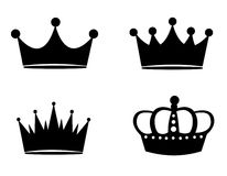 Crown. Collection of black crowns isolated on white background