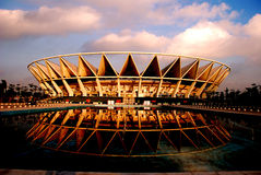 Crown. The Foshan Stadium in the Guangdong province of China,looks like a golden crown in the morning sunshine Royalty Free Stock Images