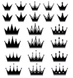 Crown. Big set of black crown Royalty Free Stock Photos
