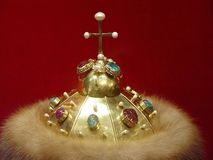 Crown. Headpiece, crown, fur, gold, gems, treasure, zar, Kremlin, Moscow, Russia Royalty Free Stock Image