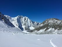 The Crown of Altai mountain peak. Belukha Mountain view. Altai, Russia. Akkem glacier stock images