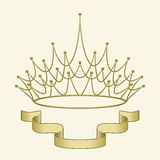 Crown with banner. A simple banner beneath an elegant golden crown Stock Images