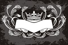 Crown with banner illustration Royalty Free Stock Photography