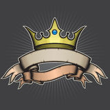 Crown and Banner. Illustration of a crown and banners Royalty Free Stock Images