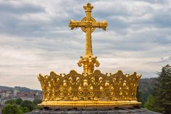 Crown on Basicla in Lourdes Royalty Free Stock Images