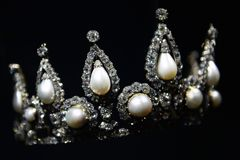 Crown with big pearl and diamond royalty free stock photos