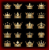 Crown. Big set. Collection icons. Vector. Vintage Royalty Free Stock Photo