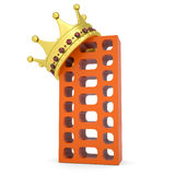 Crown on the brick building. Isolated render on a white background Stock Photo