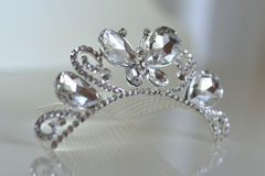 Crown of the bride. Of zircon with motifs of butterflies Royalty Free Stock Photos