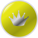 Crown button. Illustration of a round golden button with a silver crown symbol on it Royalty Free Stock Photography