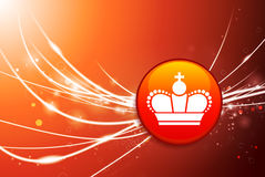 Crown Button on Red Abstract Light Background Royalty Free Stock Photos