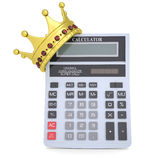 Crown on the calculator. Render on a white background Royalty Free Stock Images