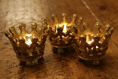 Crown candles. Three Crown candles still life portrait Royalty Free Stock Images