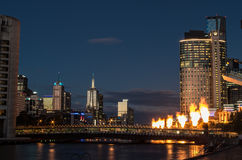 Crown Casino tower by the Yarra River Stock Images
