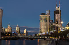 Crown Casino tower by the Yarra River Royalty Free Stock Photo