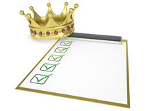 Crown on the checklist. Isolated render on a white background Stock Photo