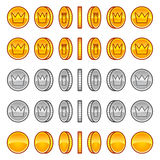 Crown coins rotation animation sprites Royalty Free Stock Image