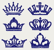Crown collection. Doodle style Royalty Free Stock Photo