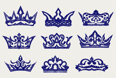 Crown collection. Doodle style Stock Images