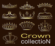 Crown collection set Royalty Free Stock Photos
