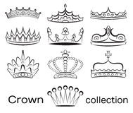 Crown collection set Royalty Free Stock Photo