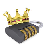 Crown on the combination lock. Render on a white background Royalty Free Stock Image