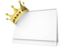 Crown on the desktop calendar. Isolated render on a white background Royalty Free Stock Photo