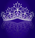 Crown diadem feminine with reflection on turn blue. Illustrations crown diadem feminine with reflection on turn blue background Royalty Free Stock Image