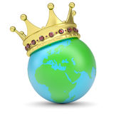 The crown on Earth. Render on a white background Royalty Free Stock Photography