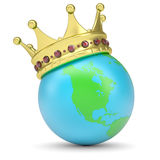 The crown on Earth. Render on a white background Stock Photos