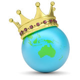 The crown on Earth. Render on a white background Royalty Free Stock Photos