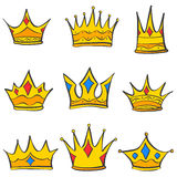 Crown elegant style set collection doodle Royalty Free Stock Photo