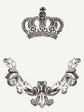Crown emblem with shield. One color abstract crown emblem with shield Stock Photos