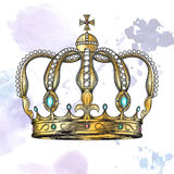 Crown in engraving style Stock Photo