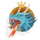 Crown fire-breathing dragon. The king of dragons breathing fire, is a force of power, the will, the spirit of wisdom and correct decision of problems Royalty Free Stock Photos