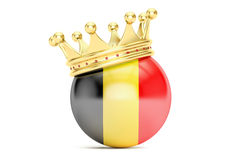 Crown with flag of Kingdom of Belgium, 3D rendering Royalty Free Stock Photo