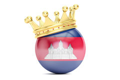 Crown with flag of Kingdom of Cambodia, 3D rendering Royalty Free Stock Images