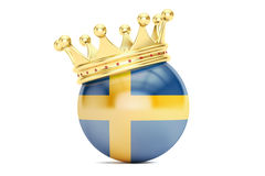 Crown with flag of Kingdom of Sweden , 3D rendering Royalty Free Stock Photography
