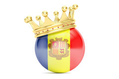 Crown with flag of Principality of Andorra, 3D rendering Royalty Free Stock Photo